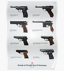 Pistolen des Zweiten Weltkriegs Deutschland Poster