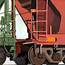 Railroad Cars - original realistic oil painting by LindaAppleArt