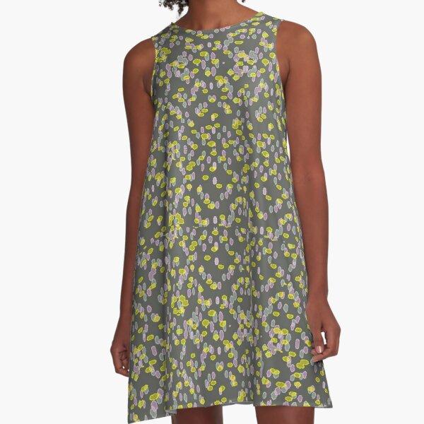 Dot pattern_dark_gray_background A-Line Dress