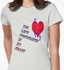 Footprints in my heart Womens Fitted T-Shirt