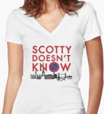 SCOTTY DOESN'T KNOW Women's Fitted V-Neck T-Shirt