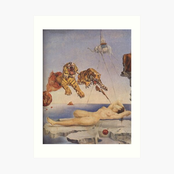 Salvador Dali, Dream Caused by the Flight of a Bee around a Pomegranate a Second before Awakening. Art Print