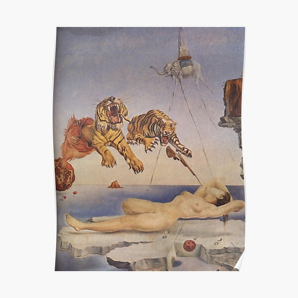 Salvador Dali, Dream Caused by the Flight of a Bee around a Pomegranate a Second before Awakening. Poster