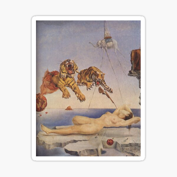 Salvador Dali, Dream Caused by the Flight of a Bee around a Pomegranate a Second before Awakening. Sticker