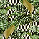Palms on Checker Parallelogram Pattern - Black White Gold by Nicole Demereckis