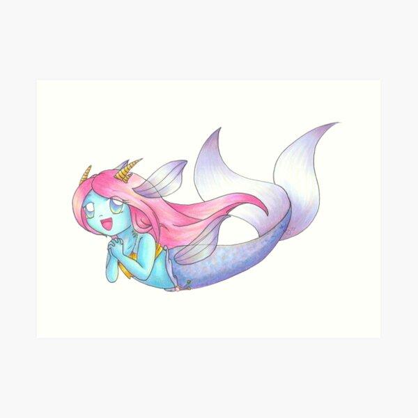 Dragon Mermaid Loves to Sing Art Print
