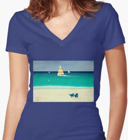 COASTAL CALM, Acrylic Painting, for prints and products Women's Fitted V-Neck T-Shirt