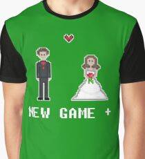 Video Game Wedding New Game Plus 8bit Bride and Groom Graphic T-Shirt
