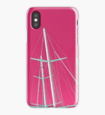 Masts of yachts and sail boats with clear pink sky background iPhone Case