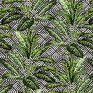 Palms on Square Shingles Pattern - Black White Gold by Nicole Demereckis