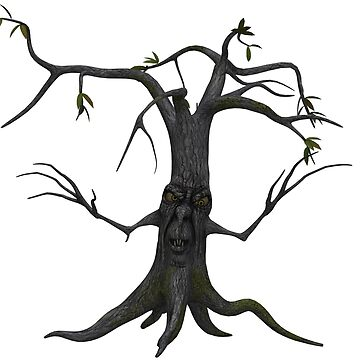 Tree Trunk with Monster Face Halloween T-shirt by Sapphire-X