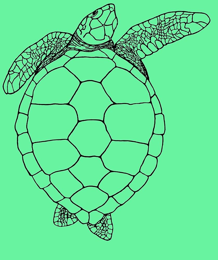 Green Turtle - top view by Pat Logan