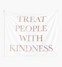 Treat People With Kindness Pink Floral Design Wall Tapestry