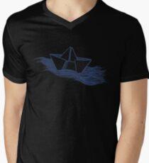 Schiff – dunkelblau T-Shirt mit V-Ausschnitt für Männer