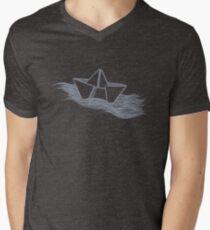 Schiff – hellgrau T-Shirt mit V-Ausschnitt für Männer