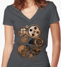 Steampunk Gears Women's Fitted V-Neck T-Shirt