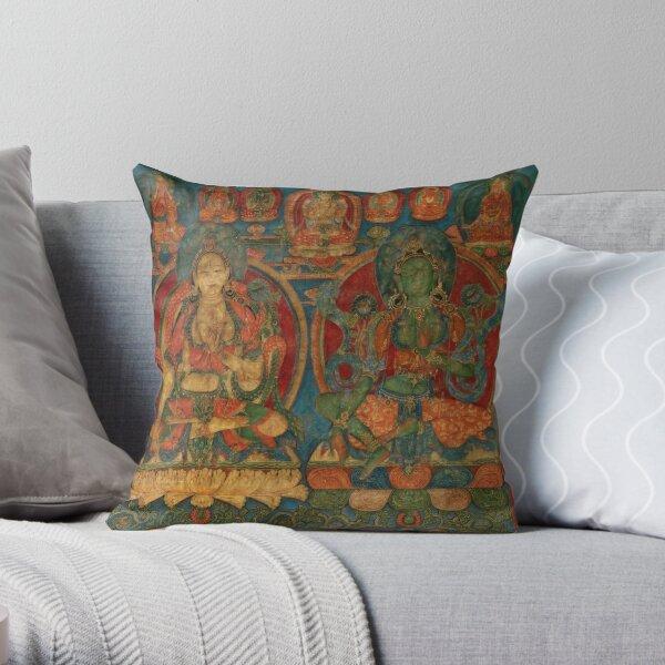 The White Tara and The Green Tara Throw Pillow