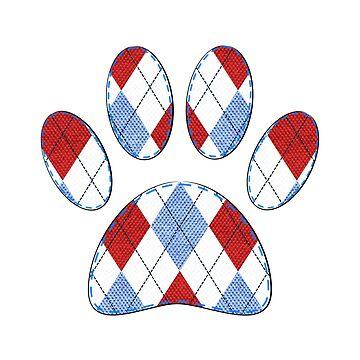 Argyle Fabric Pattern Dog Paw Print by Almdrs