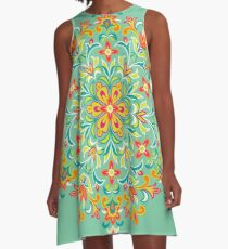 Multicolored  Ethnic Floral Kaleidoscope A-Line Dress