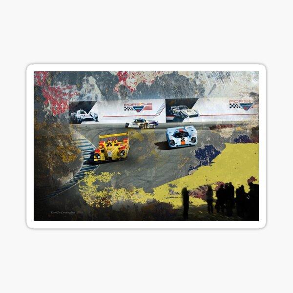 Super Car Art Porsche cars at Rennsport Reunion V  Laguna Seca Raceway Sticker
