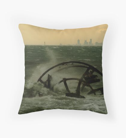Melbourne from the Ozone Paddle Steamer Wreck Throw Pillow