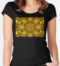 Golden Morning Double Kaleidoscope Neon Yellow Women's Fitted Scoop T-Shirt