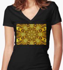 Golden Morning Double Kaleidoscope Neon Yellow Women's Fitted V-Neck T-Shirt