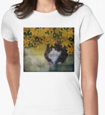 Black Kitty in Yellow Lilies  Women's Fitted T-Shirt