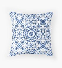 Ethnic Floral Kaleidoscope Pattern in Blue and White Floor Pillow