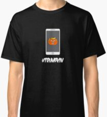 Angry Orange Trumpkin on a Cell Phone Classic T-Shirt
