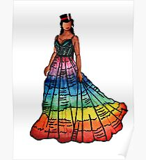Rainbow pride art- Janelle Monae couture design  Poster