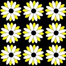 Yellow Daisies on black by Denise Beverly