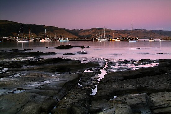Dusk Apollo Bay Harbour by Joe Mortelliti