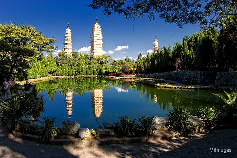 Three Pagodas Chongshen Monastery Dali Yunan Province China by MiImages