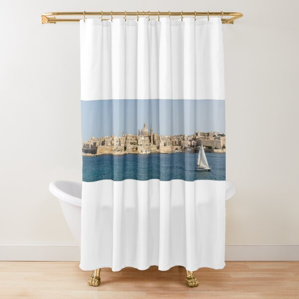 View from Window of Sea with Wharf Mediterranean Decor Print Shower Curtain Set