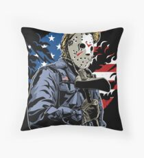 American Flag Axe Murderer  Throw Pillow