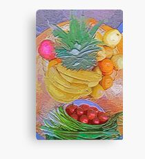 a table full of exotic fruit Canvas Print