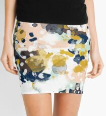 Sloane - Abstract painting in free style navy, mint, gold, white, and turquoise  Mini Skirt