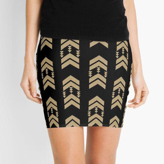 Gold Chevron - geometric chevron pattern in black and gold glitter Mini Skirt