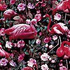 Floral and Flamingo VIII pattern by Burcu Korkmazyurek