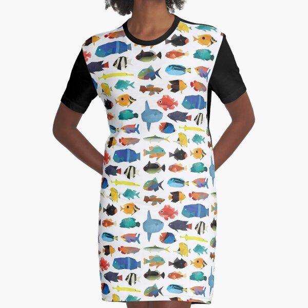 Tropical Fish chart Graphic T-Shirt Dress