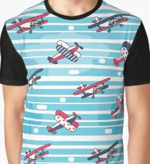 Pattern with stripes and retro planes Graphic T-Shirt