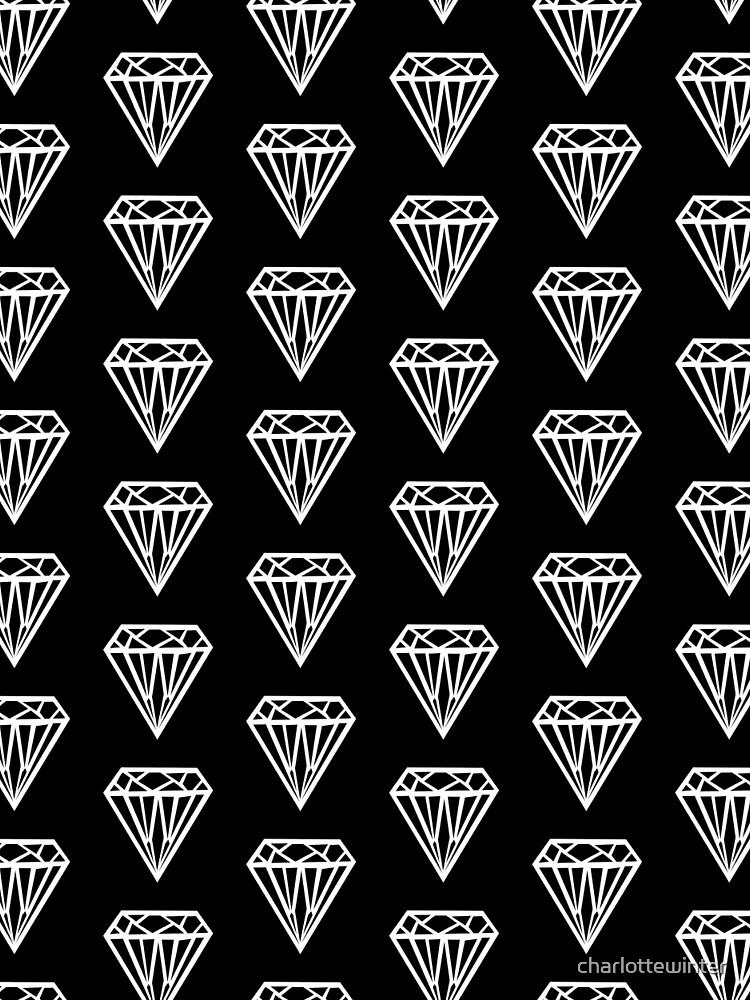 Bijou - Geometric diamond gem pattern in black and white by charlottewinter