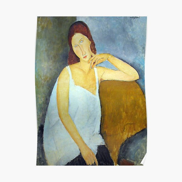 Vintage Amedeo Modigliani Jeanne Hebuterne Anagorie 1919 Poster