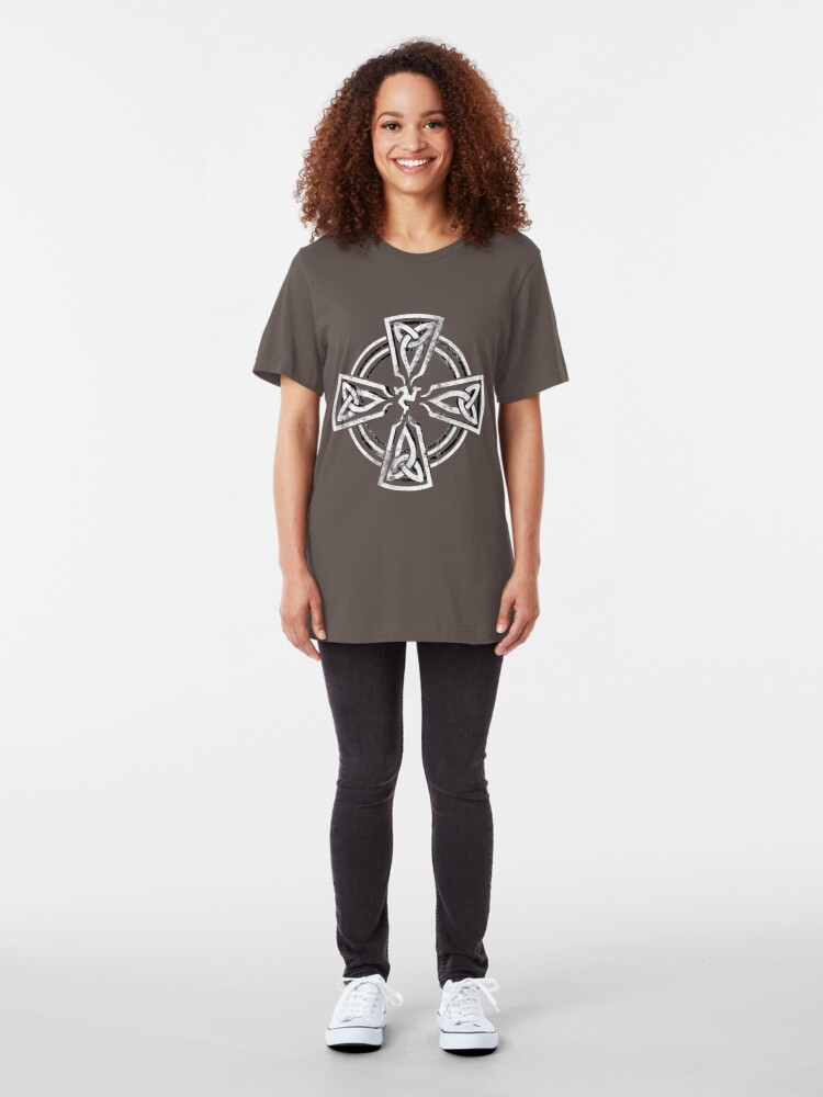 Alternate view of Celtic Cross Manx Cross 3 Legs Isle Of Man Knots Slim Fit T-Shirt