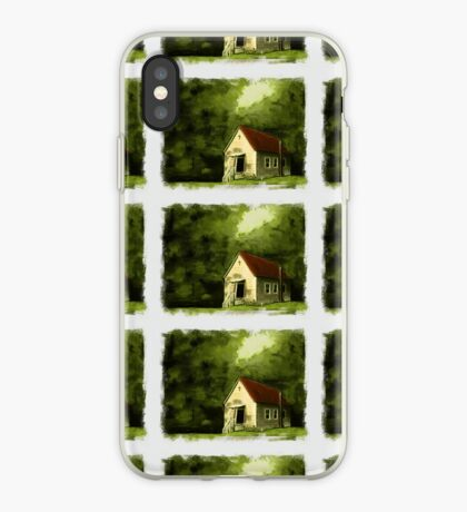 COUNTRY CHURCH, Pastel Painting, with Custom Edging, for prints and products iPhone Case