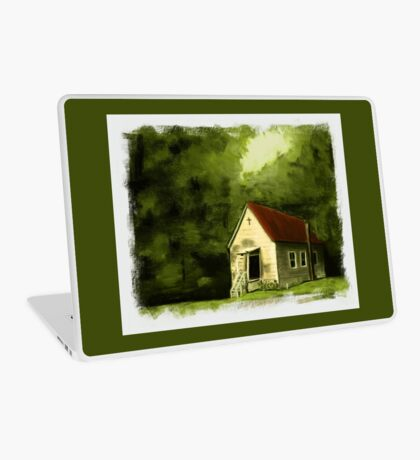 COUNTRY CHURCH, Pastel Painting, with Custom Edging, for prints and products Laptop Skin