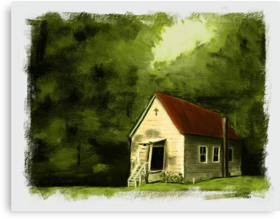 COUNTRY CHURCH, Pastel Painting, with Custom Edging, for prints and products by Bob Hall©