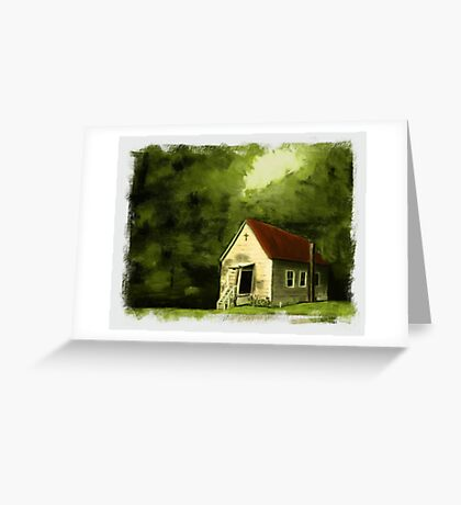 COUNTRY CHURCH, Pastel Painting, with Custom Edging, for prints and products Greeting Card