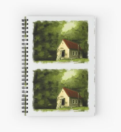 COUNTRY CHURCH, Pastel Painting, with Custom Edging, for prints and products Spiral Notebook